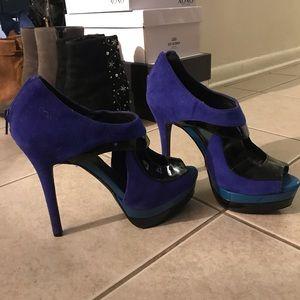 Blue platforms heels sandals